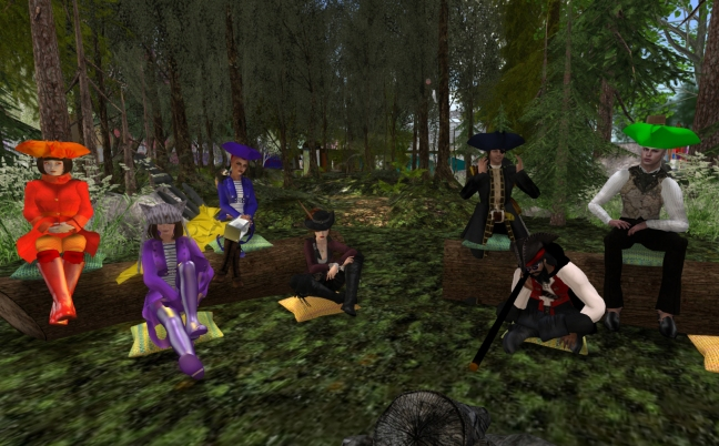 telling stories around the fire in Second Life